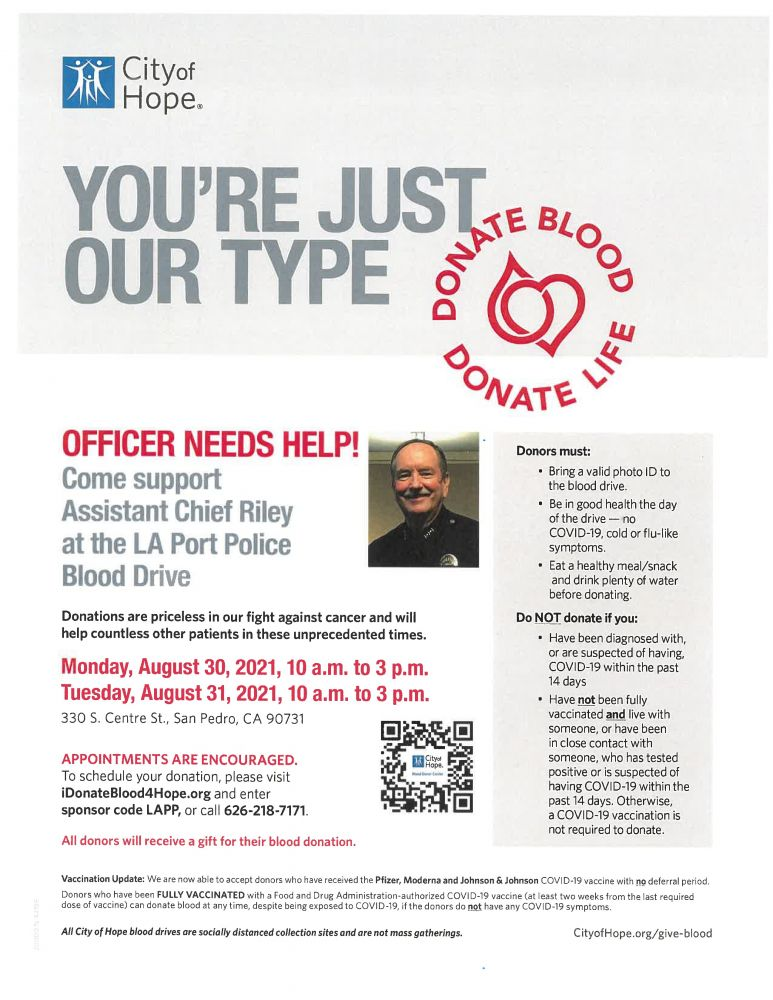 Blood Drive for Port of LA Asst Chief Riley