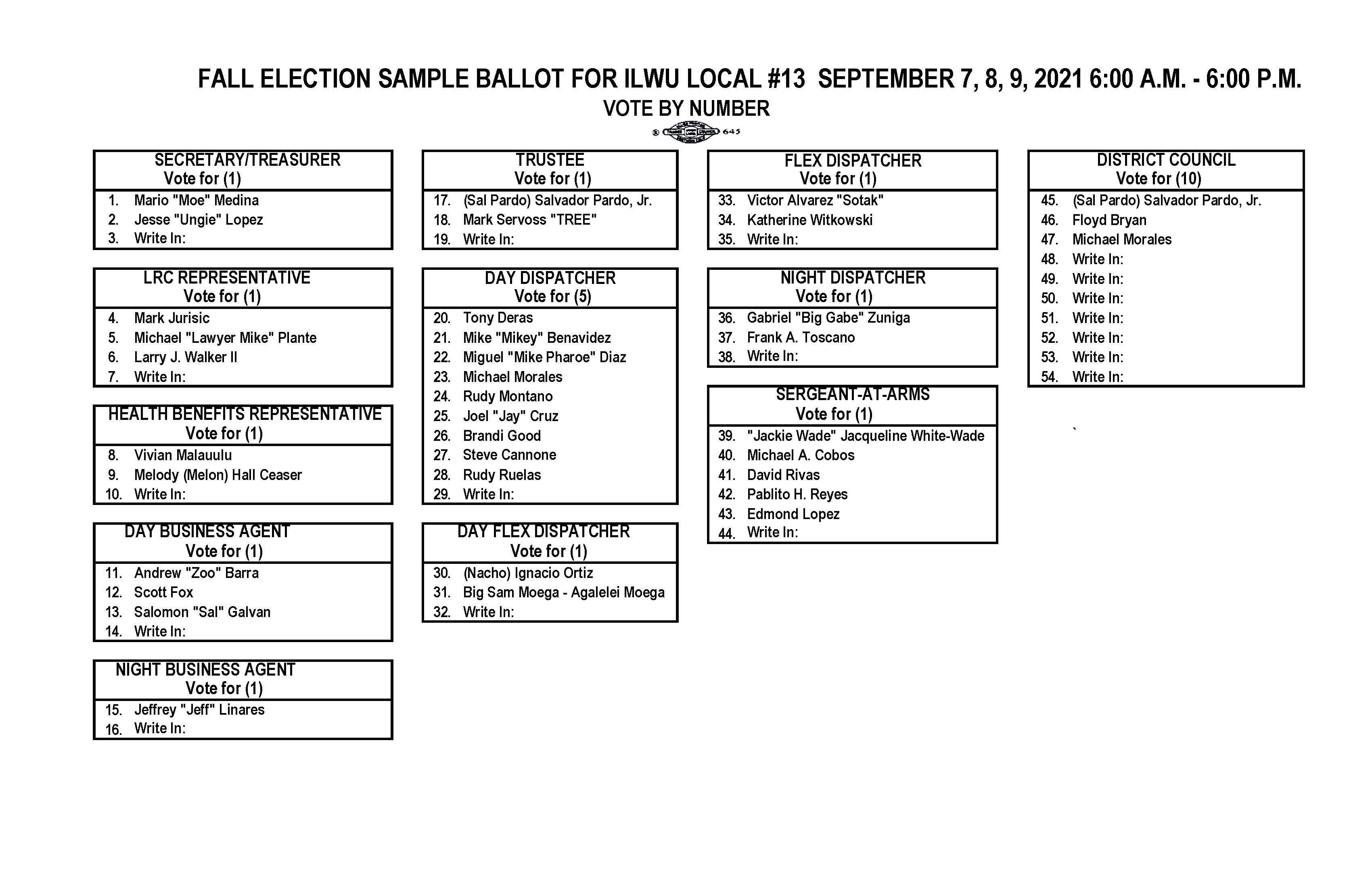 2021 Fall Election Ballot & Candidate Photos